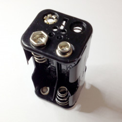 BATTERY HOLDER, AAx4, BACK TO BACK, w/9V CLIP
