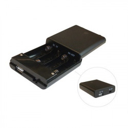 BATTERY HOLDER, AAX4, ENCLOSER W/USB JACK