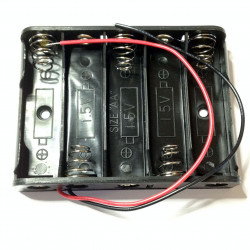 BATTERY HOLDER, AAx5, SIDE BY SIDE, w/WIRE