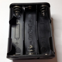 BATTERY HOLDER, AAx6, BACK TO BACK, w/9V CLIP