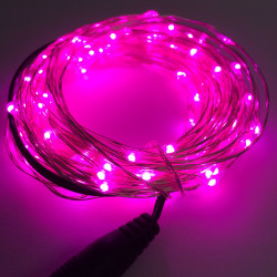 LED STRING LIGHT PINK 12V 10M 100LED IP67
