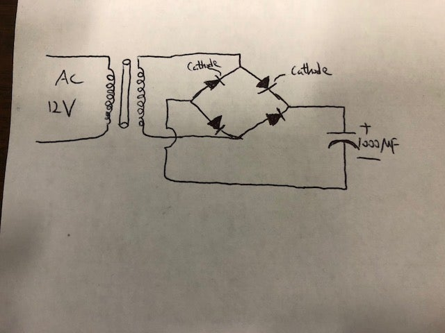 Picture of Build the Bridge Rectifier With One Capacitor in Parallel With It