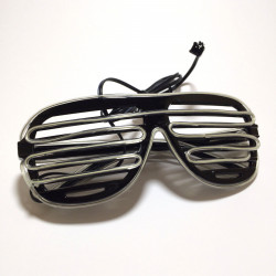 EL WIRE, GLASSES, BLACK - LIGHT BLUE